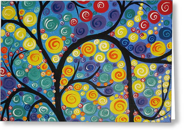 Living With Joy Greeting Cards - Night Tree Greeting Card by Cathy Jacobs
