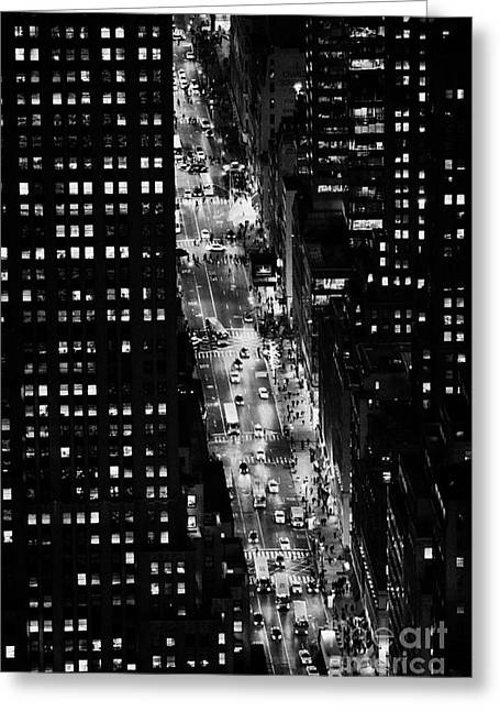 Manhatan Greeting Cards - Night View Down Towards Fifth 5th Avenue Ave At Night New York City Greeting Card by Joe Fox
