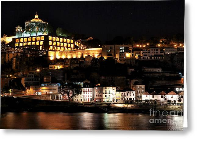 Gaia Greeting Cards - Night View from Porto Greeting Card by John Rizzuto