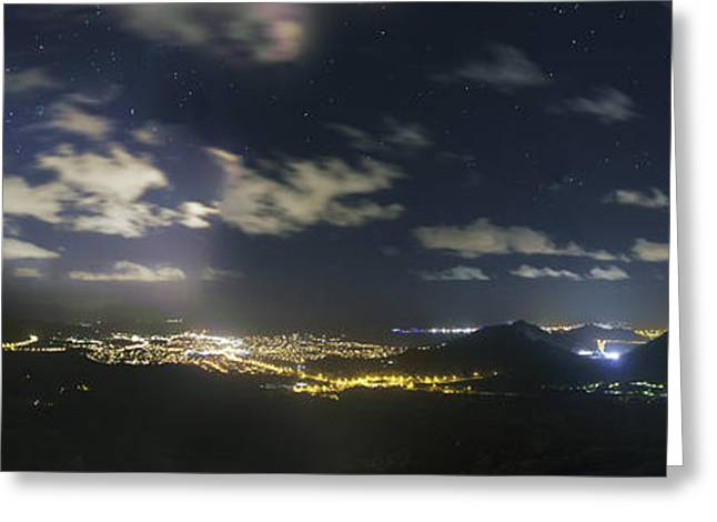 Mountain Valley Greeting Cards - Night View From The Nuuanu Pali Greeting Card by Rogelio Bernal Andreo