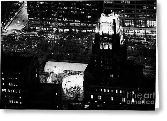Manhatan Greeting Cards - Night View Of Bryant Park Ice Skating Rink And Roof Of American Standard Building New York City Greeting Card by Joe Fox