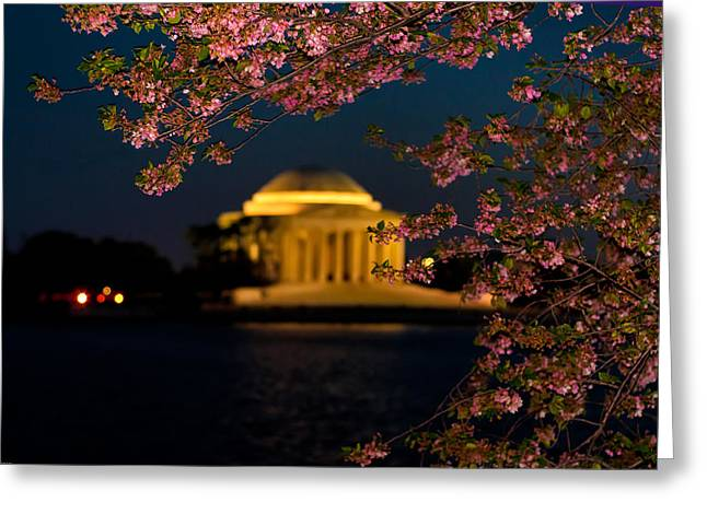 D700 Greeting Cards - Night View of Cherry Blossoms and the Jefferson Memorial Greeting Card by Mitchell R Grosky