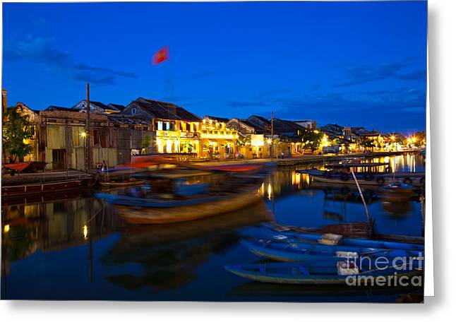 Old Street Greeting Cards - Night view of Hoi An City Vietnam Greeting Card by Fototrav Print