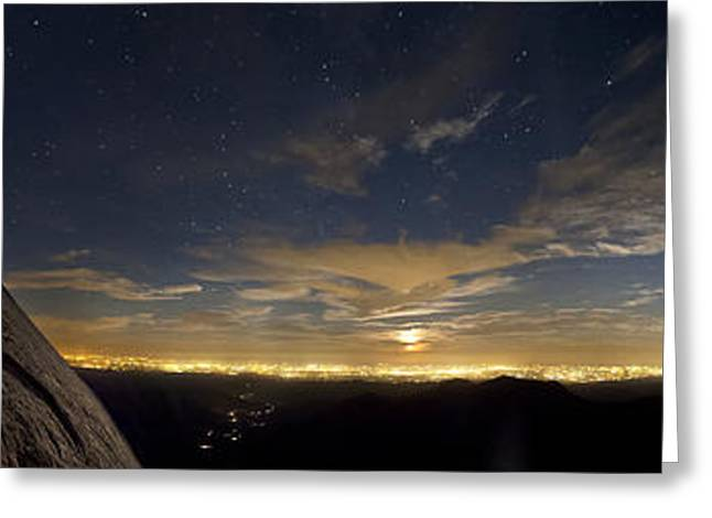 Land Feature Greeting Cards - Night View Of Moro Rock And Fresno Greeting Card by Rogelio Bernal Andreo