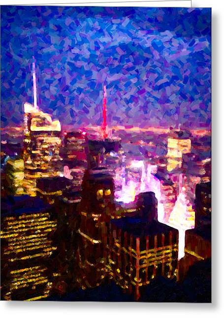 Lightscapes Greeting Cards - Night View of New York City Greeting Card by Hakon Soreide