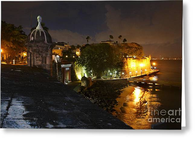 Old San Juan Greeting Cards - Night View of Old San Juan Greeting Card by George Oze
