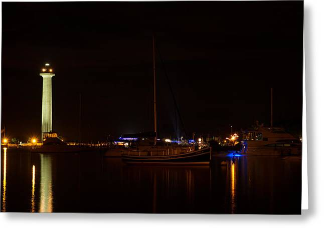 Recently Sold -  - Sailboat Images Greeting Cards - Night view of Put-in-Bay Greeting Card by Haren Images- Kriss Haren