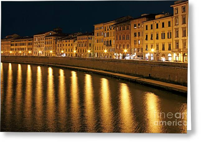 Night Lamp Photographs Greeting Cards - Night View of river Arno bank in Pisa Greeting Card by Kiril Stanchev
