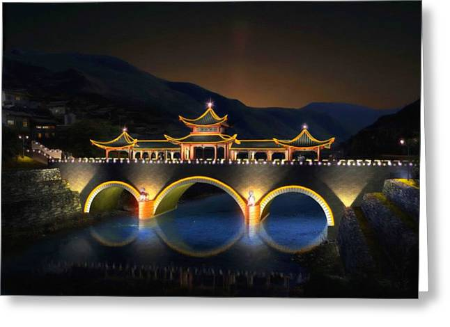 Fenghuang Greeting Cards - Night View Of The Bridge And City In China Greeting Card by Lanjee Chee