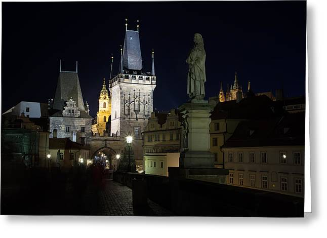 Medieval Temple Greeting Cards - Night view of the Charles Bridge  Greeting Card by Jaroslav Frank