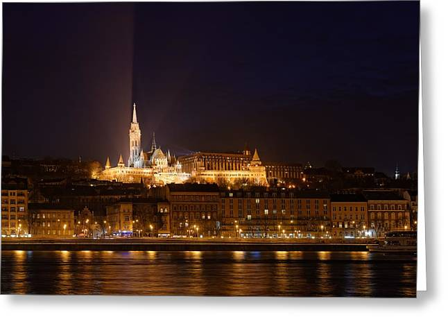 Neo Pyrography Greeting Cards - Night view of the Mathias Church  Greeting Card by Oliver Sved