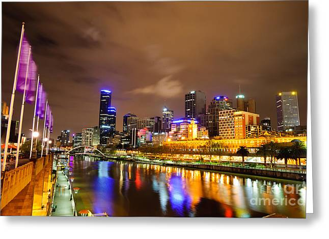 Night View Of The Yarra River And Skyscrapers - Melbourne - Australia Greeting Card by David Hill