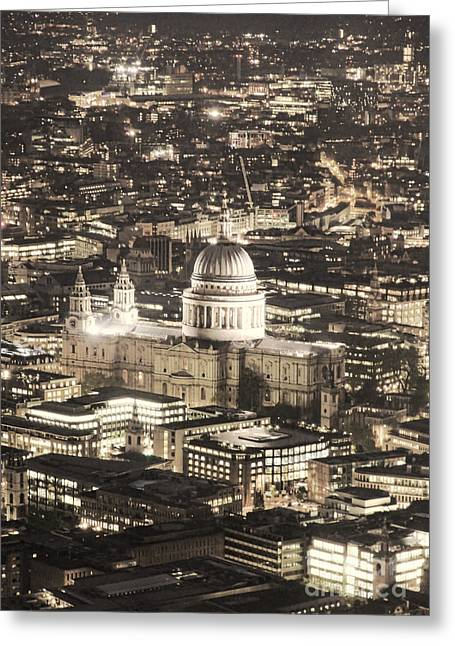 City Lights Greeting Cards - Night View over St Pauls Greeting Card by Jasna Buncic