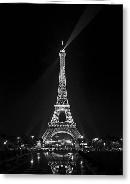 Night View Over The Eiffel Tower Greeting Card by Antonio Jorge Nunes