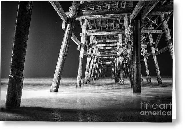 Clemente Greeting Cards - Night View Under San Clemente Pier Greeting Card by Ana V  Ramirez