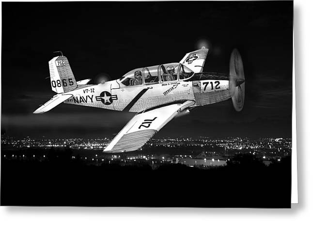 Decade Greeting Cards - Night Vision Beechcraft T-34 Mentor Military Training Airplane Greeting Card by Jack Pumphrey