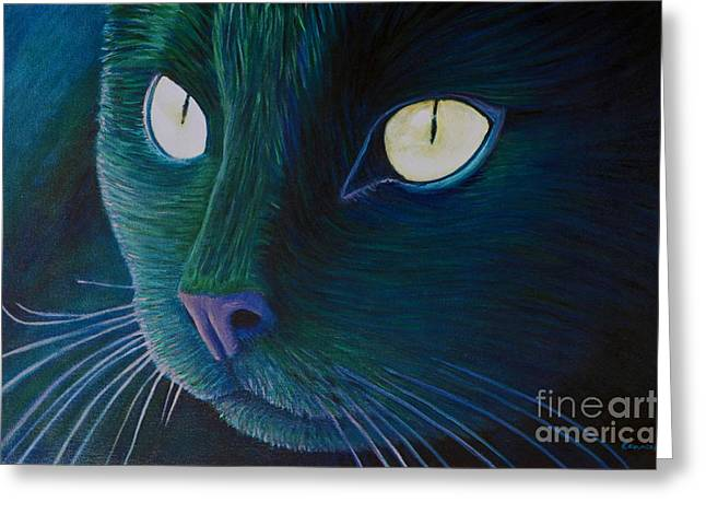Kittens Greeting Cards - Night Vision Greeting Card by Brian  Commerford