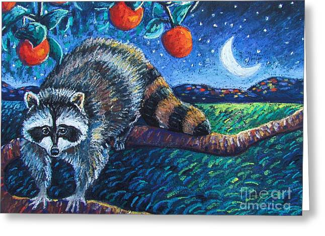 Raccoon Greeting Cards - Night Visitor Greeting Card by Harriet Peck Taylor
