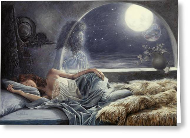 Spiritual Being Greeting Cards - Night Voyage Greeting Card by Lucie Bilodeau