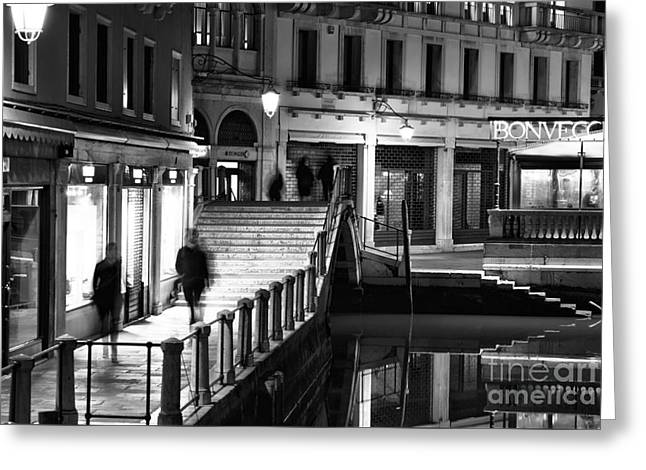 Night Shot Greeting Cards - Night Walk in Venice Greeting Card by John Rizzuto