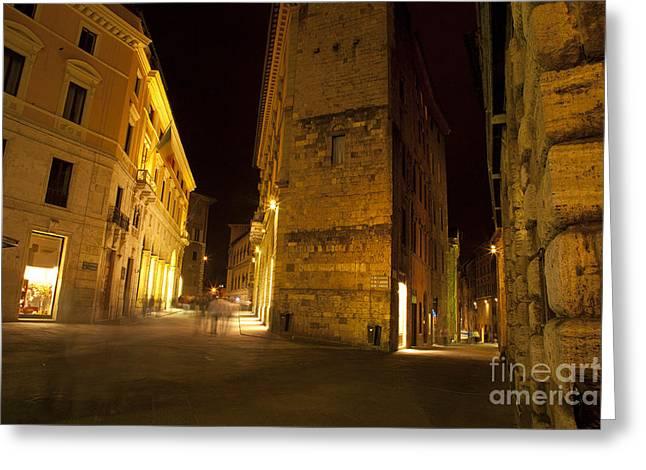 Sienna Italy Greeting Cards - Night Walk Greeting Card by Robert Talbot