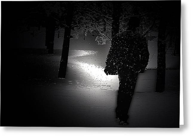 Winter Night Greeting Cards - Night Walk Greeting Card by Svetlana Nilova
