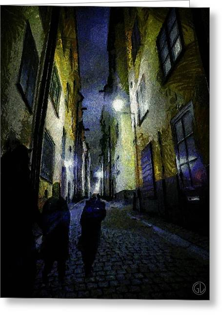 Streetlight Greeting Cards - Night wanderers Greeting Card by Gun Legler