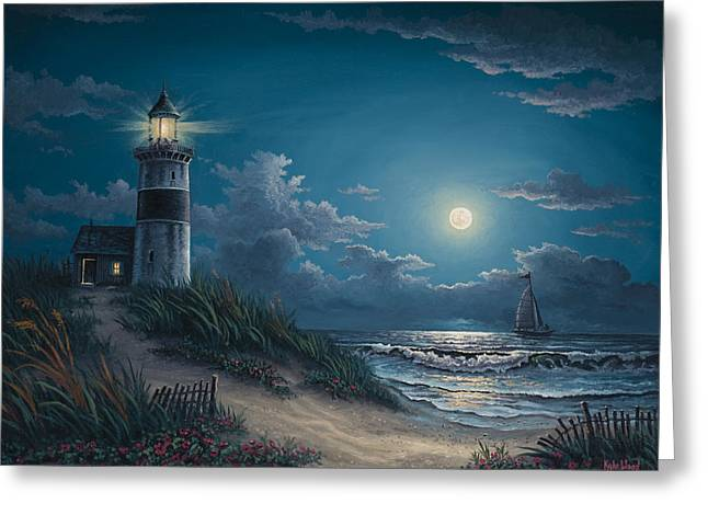 Coastal Lighthouses Greeting Cards - Night Watch Greeting Card by Kyle Wood