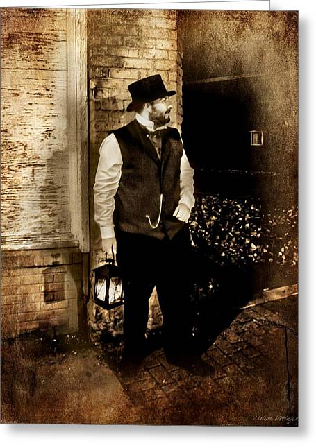 Night Watchman Greeting Card by Melissa Bittinger