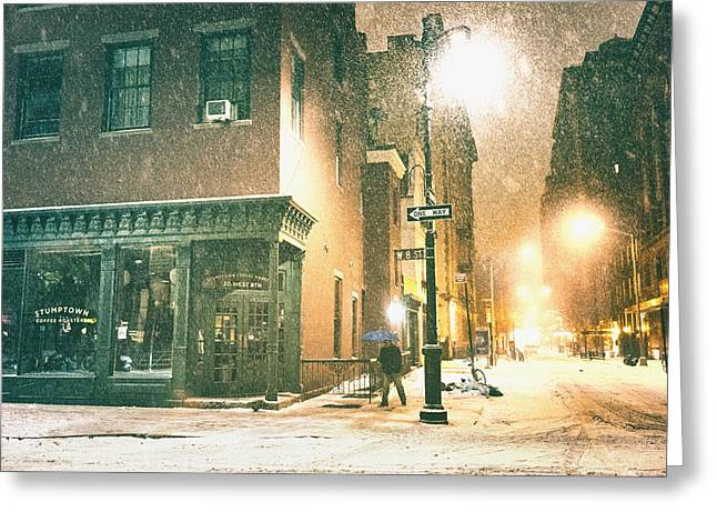 Night - Winter - New York City Greeting Card by Vivienne Gucwa