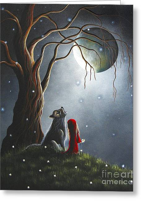 Howling Greeting Cards - Little Red Riding Hood Original Artwork Greeting Card by Shawna Erback