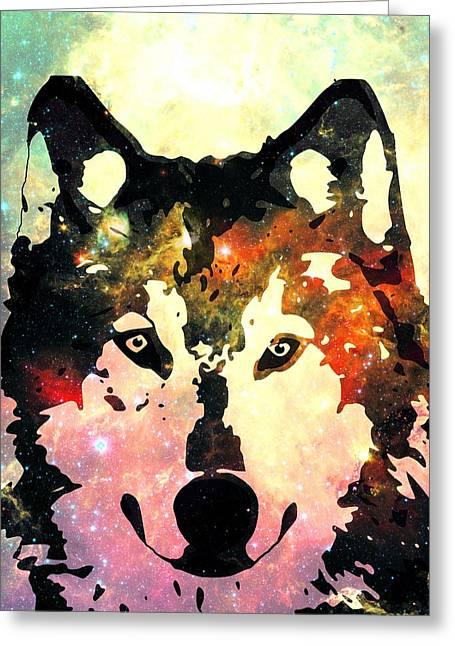 Single Mixed Media Greeting Cards - Night Wolf Greeting Card by Anastasiya Malakhova
