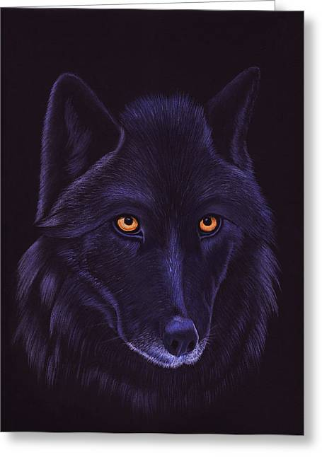Wolf Pastels Greeting Cards - Night Wolf Greeting Card by Sesh Artwork