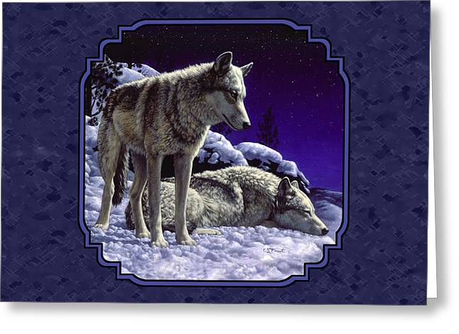 Snow Scenes Greeting Cards - Night Wolves Painting for Pillows Greeting Card by Crista Forest