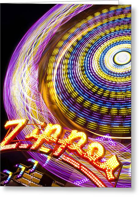 Amusement Ride Greeting Cards - Night Zipper Greeting Card by Caitlyn  Grasso