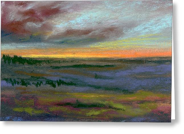 Cloudy Pastels Greeting Cards - Nightfall Greeting Card by Addie Hocynec