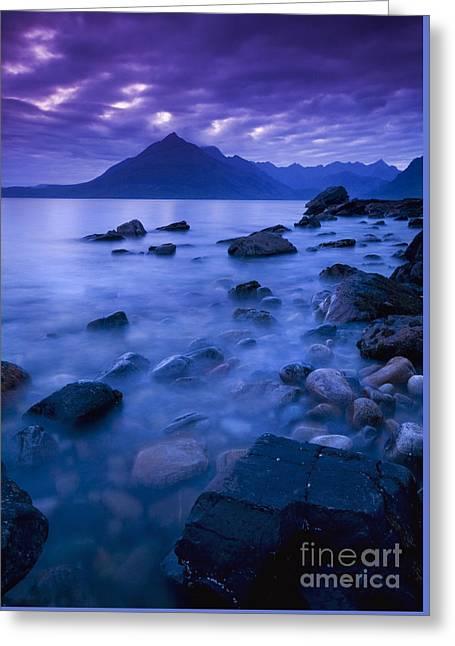 Sea View Greeting Cards - Nightfall at Elgol Greeting Card by David Lichtneker