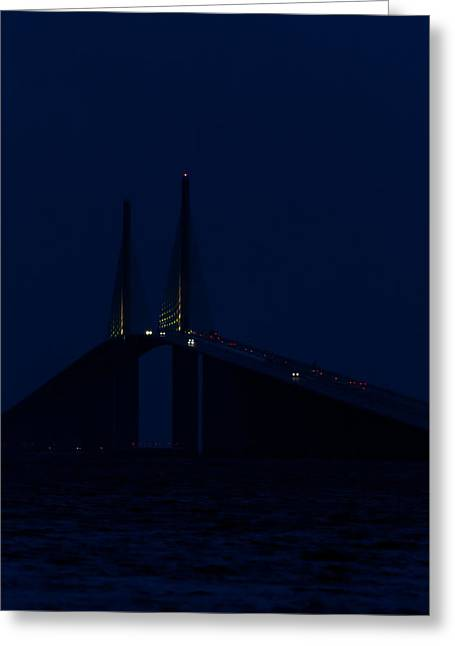 Steel Water Feature Greeting Cards - Nightfall at the Sunshine Skyway Greeting Card by Ed Gleichman