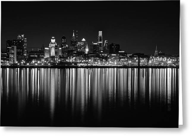 Philly Greeting Cards - Nightfall in Philly b/w Greeting Card by Jennifer Lyon