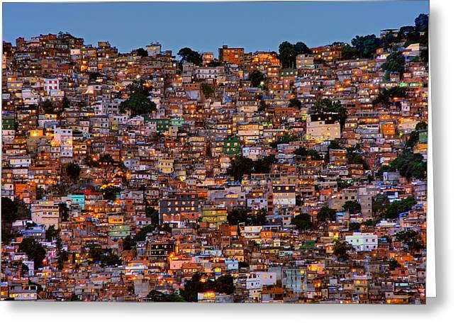 Nightfall In The Favela Da Rocinha Greeting Card by Adelino Alves