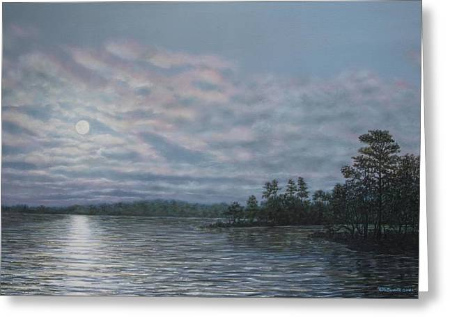 Nightfall - Moonrise On The Waterfront Greeting Card by Kathleen McDermott