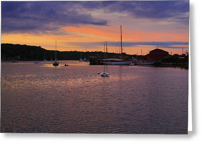 Nightfall on Mystic River 1 Greeting Card by John Hoey