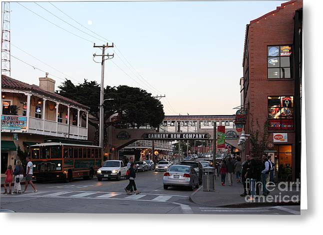 Monterey Canning Company Greeting Cards - Nightfall Over Monterey Cannery Row California 5D25144 Greeting Card by Wingsdomain Art and Photography