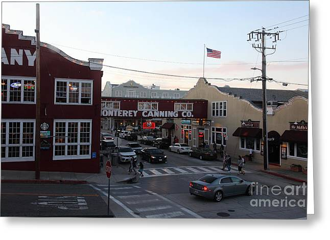 Monterey Canning Company Greeting Cards - Nightfall Over Monterey Cannery Row California 5D25146 Greeting Card by Wingsdomain Art and Photography