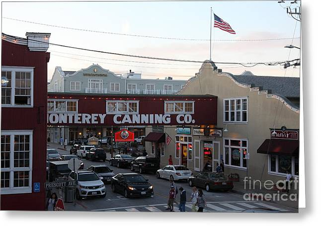 Monterey Canning Company Greeting Cards - Nightfall Over Monterey Cannery Row California 5D25148 Greeting Card by Wingsdomain Art and Photography