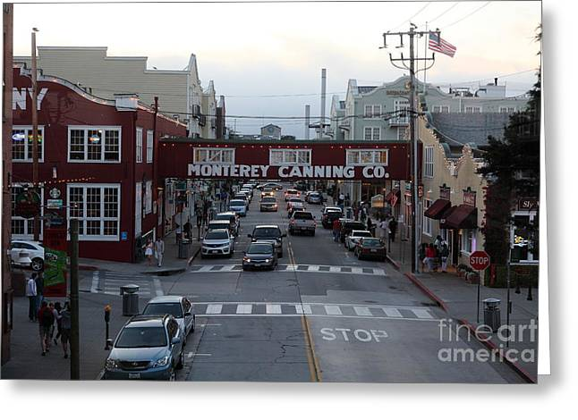 Monterey Canning Company Greeting Cards - Nightfall Over Monterey Cannery Row California 5D25149 Greeting Card by Wingsdomain Art and Photography