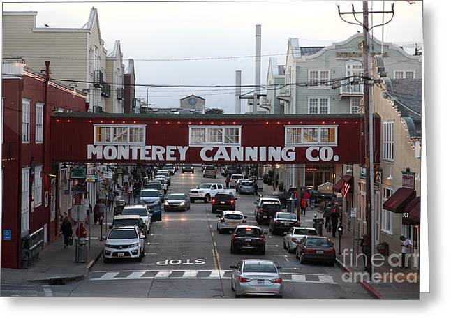Monterey Canning Company Greeting Cards - Nightfall Over Monterey Cannery Row California 5D25153 Greeting Card by Wingsdomain Art and Photography