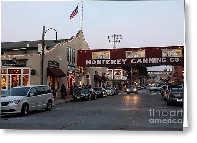 Monterey California Greeting Cards - Nightfall Over Monterey Cannery Row California 5D25167 Greeting Card by Wingsdomain Art and Photography