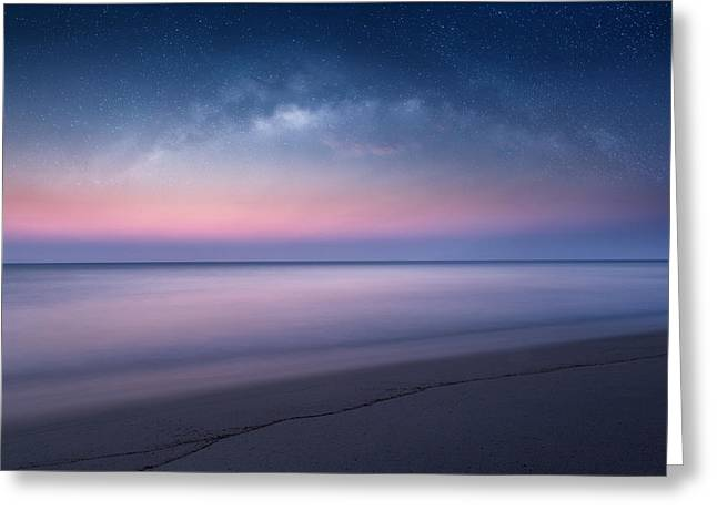 Night-scape Greeting Cards - Nightfall Seascape Greeting Card by Bill  Wakeley