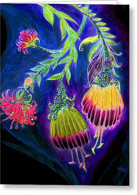 Cocoon Mixed Media Greeting Cards - Nightflowers Bright Greeting Card by Adria Trail